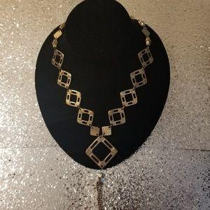 Gold Tone Geometric Tassel Necklace
